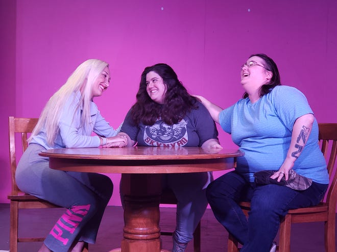 "The Magrath sisters sharing a touching moment in a scene from ""Crimes of the Heart."" Chelsea Wenger as Meg, left, Samantha Knight as Babe, and Brittney Altman as Lenny."