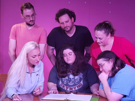 "The cast of ""Crimes of the Heart"" rehearsing a scene, from left, back row, Tyler Sloan, Joey Pierson and Ali Kamen, with Chelsea Wenger, seated, Samantha Knight, and Brittney Altman."