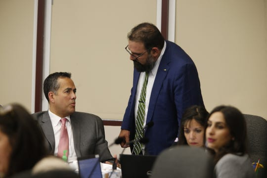 District 1 city Rep. Peter Svarzbein, right, speaks with El Paso City Manager Tommy Gonzalez on Tuesday, July 9, 2019.