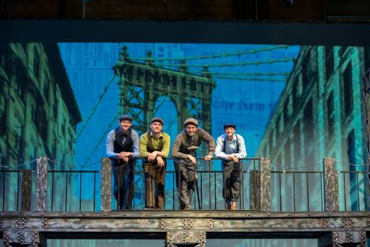 "Andrew Haagensen, Job Whetstone, Solomon Stahl and Shane Bauer rehearsing for Tulare County Office of Education's summer musical ""Newsies"" at L.J. Williams Theater in Visalia.  Performances start July 19, 2019."