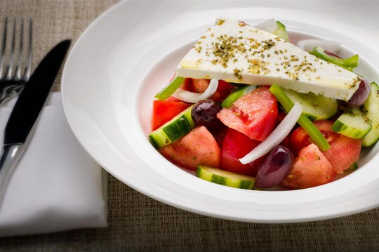 Tomato salad at Kyma Flatiron in Manhattan. The restaurant is participating in NYC's Restaurant Week.