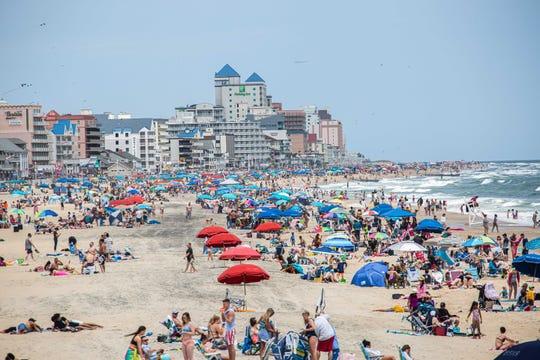 A full beach in Ocean City, Maryland.