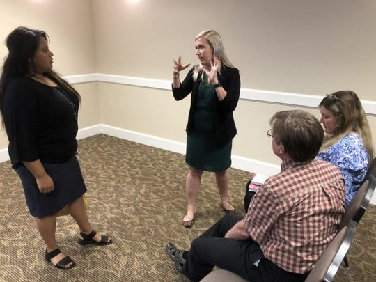 MSU Texas Title IX Director Rachael Fornof leads a recent meeting on campus. Fornof, who embraced the theater scene when she arrived in Wichita Falls, enjoys both roles, professionally and theatrically.