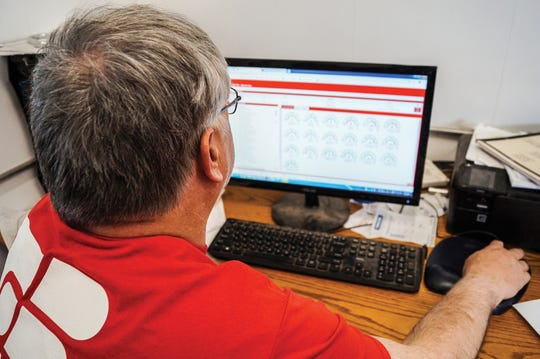 Robert reviewed data files from the Lely robotic milking system they use. The system tracks the cows' health and milking records.