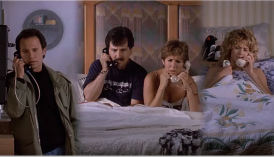 "Billy Crystal (from left) speaking to Bruno Kirby, Carrie Fisher speaking to Meg Ryan. At the same time. One magic scene from 1989's ""When Harry Met Sally ..."""