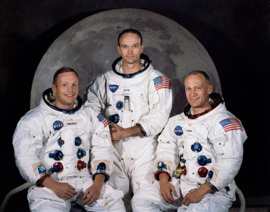 The Apollo 11 lunar landing mission crew, Neil A. Armstrong, Michael Collins and  Edwin E. Aldrin Jr. July 16, 1969.