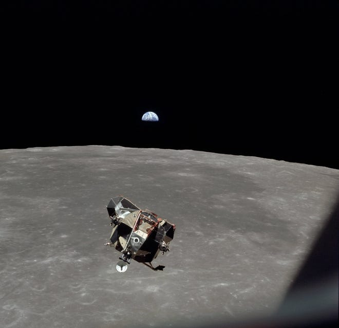 The Moon limb and 'Eagle' Lunar Module ascent to the moon, July 20,1969.