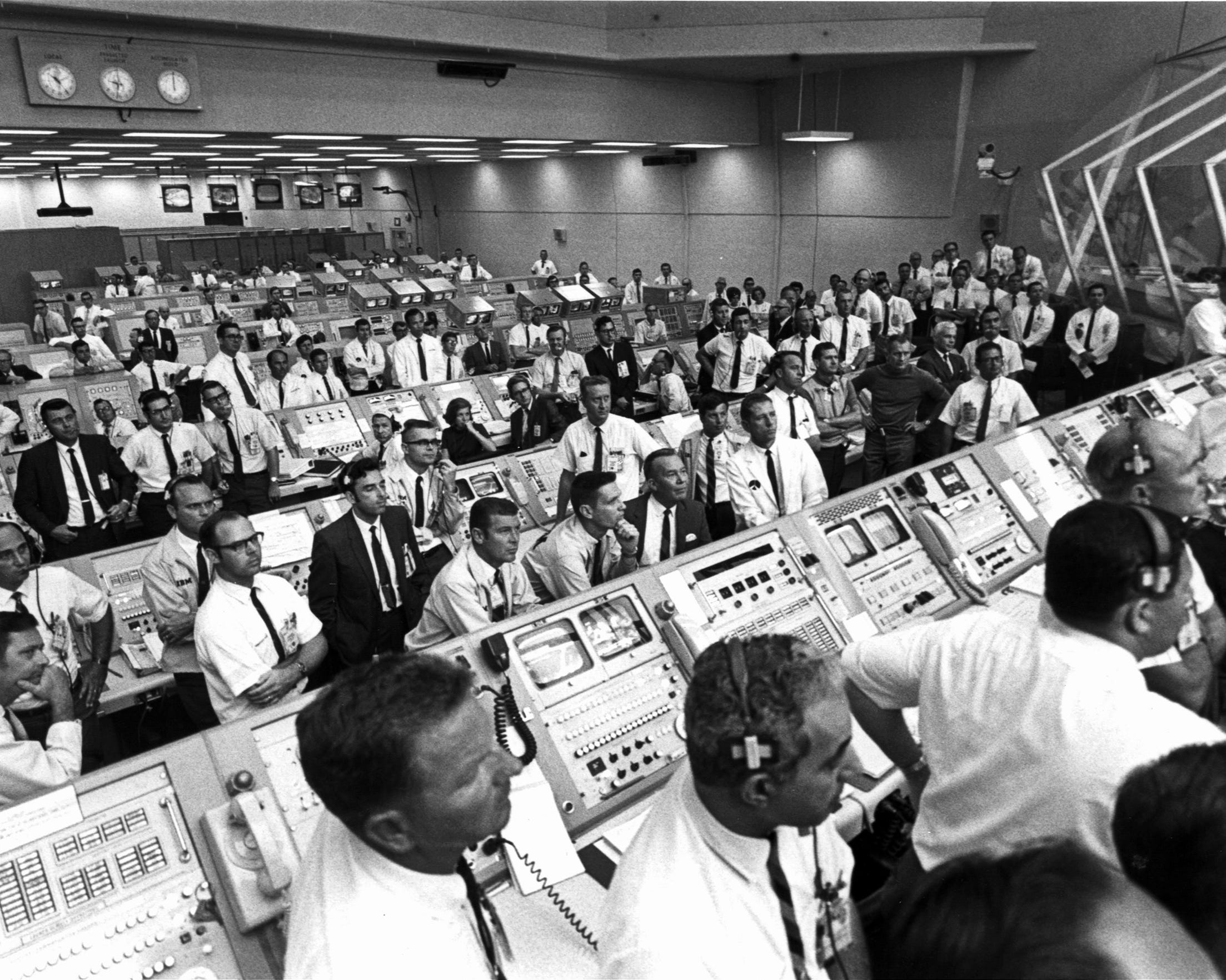 The Launch Control Center during 'Saturn V' rocket launch carrying the 'Apollo 11' astronauts as it lifts off in Cape Canavarel on July 16, 1969.