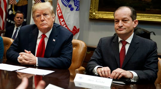 President Donald Trump supports Labor Secretary Alexander Acosta in the face of Democratic calls for Acosta to resign.