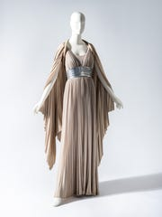A light gray evening ensemble designed by Valentina in the 'Silver Screen to Mainstream' exhibition at the Chicago History Museum.