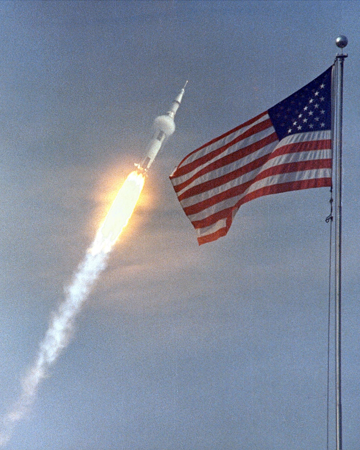 The Apollo 11 Saturn V rocket blasts off on July 16, 1969.  At takeoff, the rocket generated 7.6 million pounds of thrust.