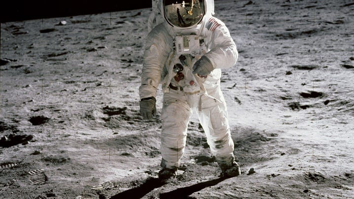 Astronaut Edwin 'Buzz' Aldrin walking on the moon in this iconic image taken by 'Apollo 11' commander and First Man on the Moon, Neil Armstrong, on  July 20, 1969.