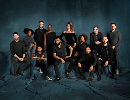 "Cast members of ""The Lion King"", left to right: Billy Eichner (Timon), Shahadi Wright Joseph (Young Nala), JD McCrary (Young Simba), Seth Rogen (Pumbaa), Florence Kasumba (Shenzi), Donald Glover (Simba), Beyoncé Knowles-Carter (Nala), Alfre Woodard (Sarabi), Chiwetel Ejiofor (Scar), John Oliver (Zazu), Keegan-Michael Key (Kamari) and Eric André (Azizi)."