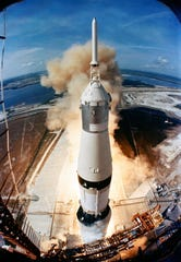 Apollo 11 was launched by a Saturn V rocket from Kennedy Space Center on Merritt Island, Fla, on July 16, 1969.  The Saturn V is 363-feet tall,  60 feet taller than the Statue of Liberty. Fully fueled for liftoff, the Saturn V weighed 6.2 million pounds.