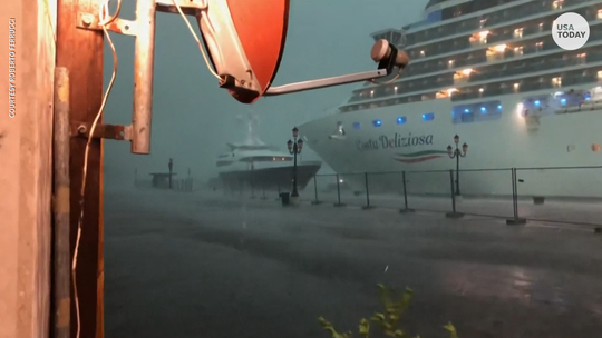 A cruise ship owned by Costa Crociere came a little too close for comfort to a yacht after getting blown around by wind and hail Sunday in Venice's famed lagoon.