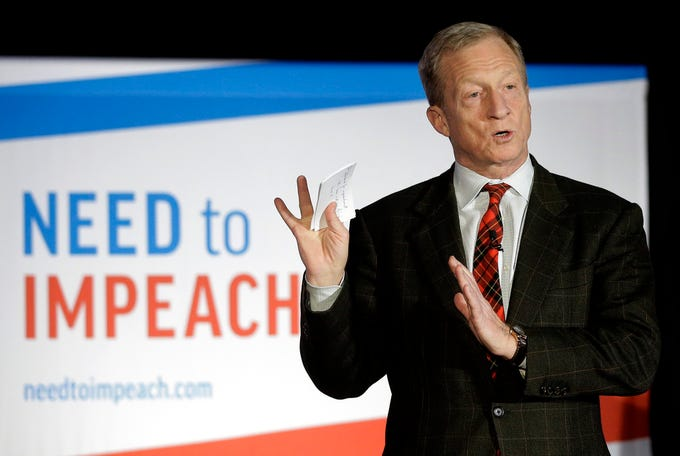 "FILE - In this March 13, 2019, photo, billionaire investor and Democratic activist Tom Steyer speaks during a ""Need to Impeach"" town hall event in Agawam, Mass.  Steyer announced Monday, June 24 that he will put $1 million toward registering millennial voters in Virginia. Steyer's liberal advocacy group, NextGen America, will engage young voters in Republican-held districts in the hopes of flipping the Republican-led General Assembly to the Democrats in November.  (AP Photo/Steven Senne, File) ORG XMIT: NYCD104"