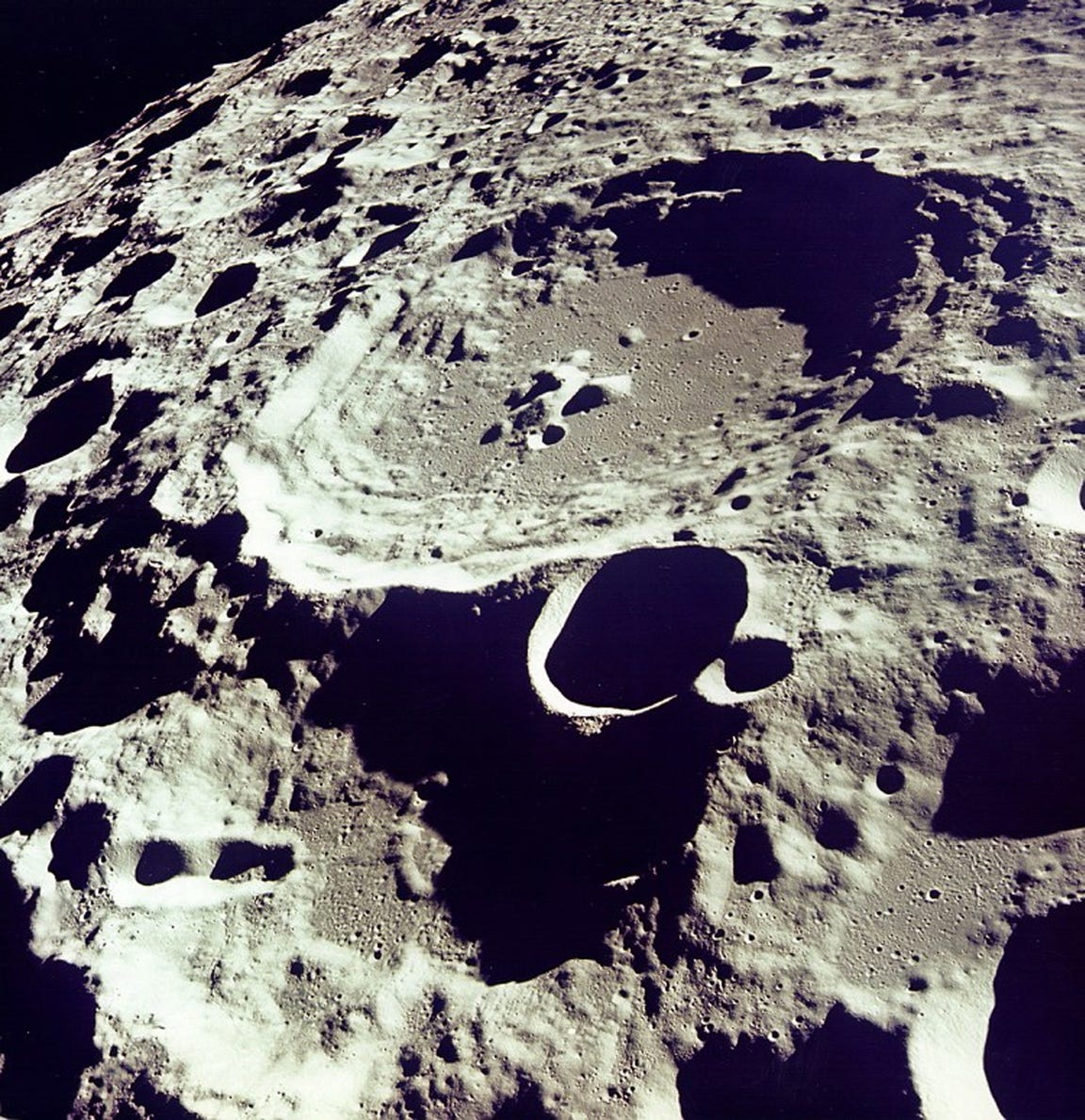 This is Crater 308 on the moon viewed from orbit on July 20, 1969.