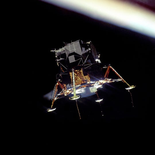 This is the Eagle lunar landing module in landing configuration in orbit taken by Michael Collins on  July 20, 1969.