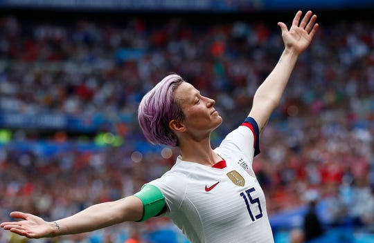 July 7, 2019: Megan Rapinoe celebrates after scoring on a penality kick in the Women's World Cup final against the Netherlands in Lyon, France. The U.S. won the game, 2-0, to win a second consecutive World Cup and fourth World Cup overall.