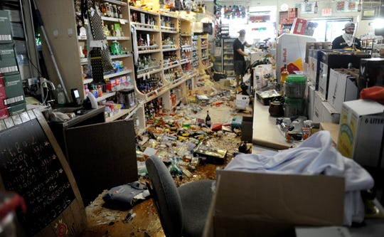 The Eastridge Market liquor store in Ridgecrest, California, remained open for business Saturday after a 7.1-magnitude quake