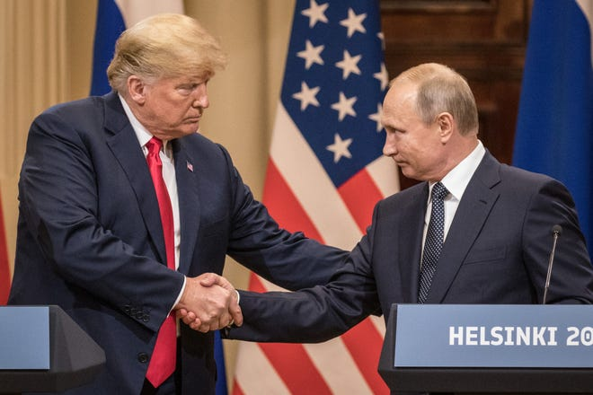 Donald Trump and Vladimir Putin in Helsinki, Finland, in July 2018.