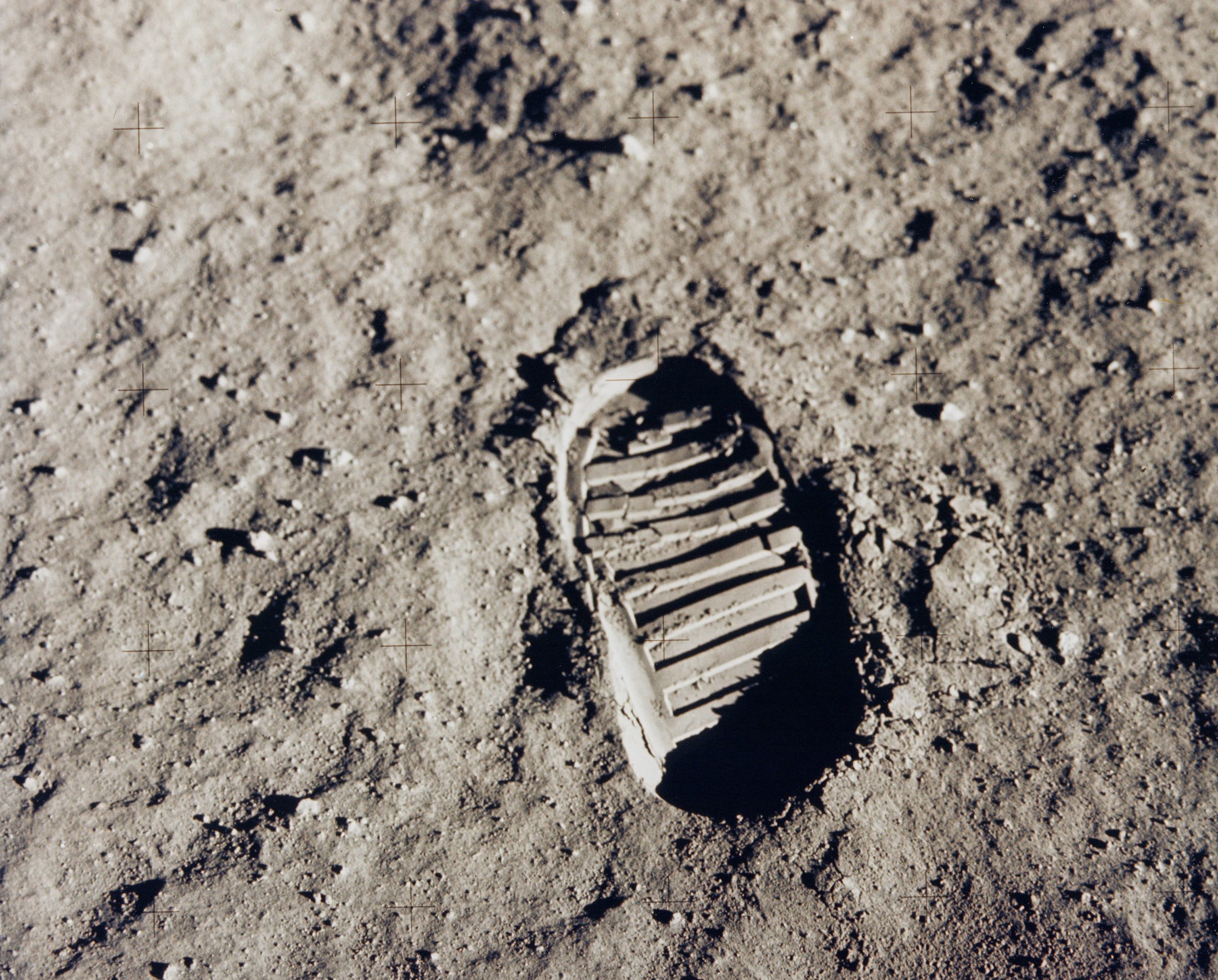 This is astronaut Edwin 'Buzz' Aldrin's boot and footprint in lunar soil July 20,1969.