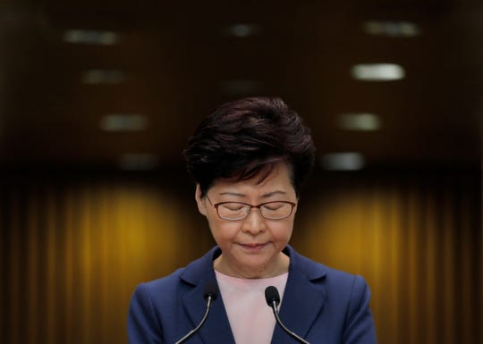 Hong Kong Chief Executive Carrie Lam pauses during a press conference in Hong Kong on July 9, 2019.
