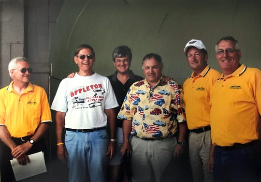 Jim Buchman, left to right, Pete Lamensky, Appleton Mayor Tim Hanna, Bob Pintarelli, Jerry Treleven and Jim Krueger at the 35th anniversary Appleton Old Car Show and Swap Meet.