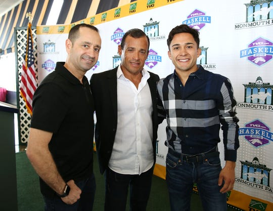 Monmouth Park past leading riders (left to right) Joe Bravo, Jose Ferrer and Nick Juarez at Monmouth Park in Oceanport, New Jersey on Tuesday May 7, 2019.