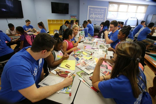 Students from Hackensack Meridian Health Medical School at Seton Hall, who are fanning out into communities to figure out ways to improve health beyond the traditional doctors' offices, visit with children at the Boys and Girls Club of Asbury Park in Asbury Park, NJ Wednesday July 10, 2019.