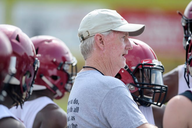 Asheville football offensive coordinator Dave Brunner coaches during the 7-on-7 tournament at Erwin High School July 9, 2019.