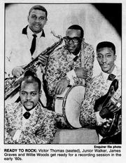 Victor Thomas (seated), Junior Walker, James Graves and Willie Woods of Jr. Walker and the All Stars.
