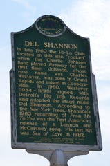 "A Michigan Historic Site marker on the corner of Capital Avenue and Hamblin Avenue, where Del Shannon first performed his hit single ""Runaway."""