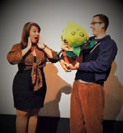 Megan Germond (left) and Vito Longo (right) star as Audrey and Seymour respectively in the EPAC Repertory Company's production of 'Little Shop of Horrors.'