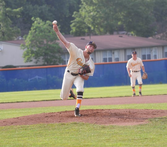 Graders pitcher James Kontur throws against the Muskegon Clippers.