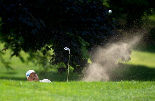 Pat Pelletier blasts out of a greenside bunker on the ninth hole at Rutland Country Club during the second round of the 2019 Vermont Amateur on Wednesday, July 10.