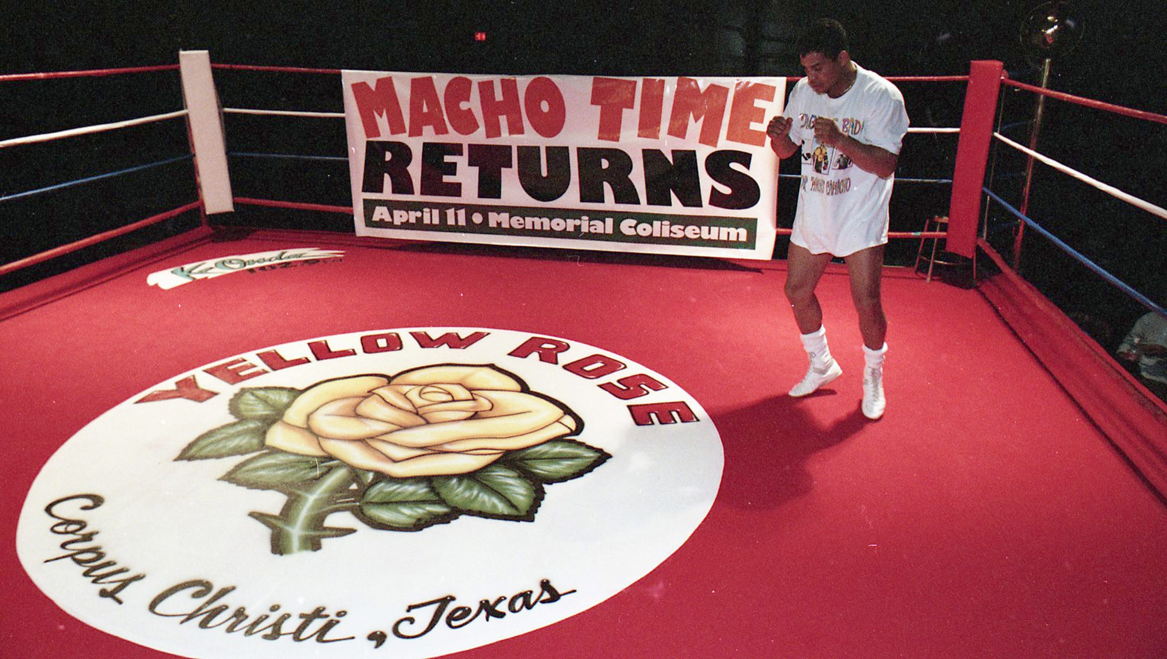 "Boxer Hector ""Macho"" Camacho practices in the ring at Yellow Rose Convention Center in Corpus Christi on March 28, 1996 ahead of a six-bout Boxing Extravaganza card the following day."
