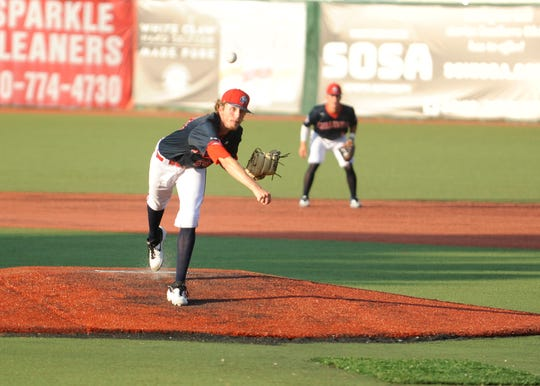 Zach Kendall throws a pitch in the Paints 4-3 win over the West Virginia Miners at VA Memorial Stadium on Tuesday.