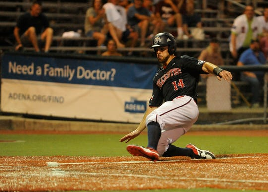 Cody Orr scores the game-winning run in the ninth inning against the West Virginia Miners as the Paints won 4-3 at VA Memorial Stadium on Tuesday.