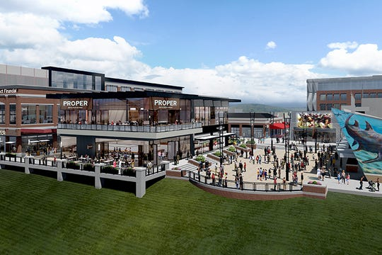 An artist's rendering of planned renovations at Newport on the Levee, including a remodel of the former Mitchell's Fish Market seafood restaurant.