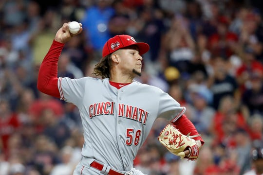 National League pitcher Luis Castillo, of the Cincinnati Reds, throws during the fourth inning of the MLB baseball All-Star Game against the American League, Tuesday, July 9, 2019, in Cleveland.