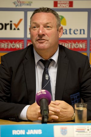 Zwolle's head coach Ron Jans speaks during a press conference in Zwolle on August 20, 2014, on the eve of their Europa League play-off football match against Sparta Prague.