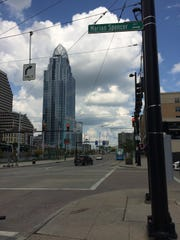 A block of Walnut Street in The Banks project Downtown was renamed Marian Spencer Way in 2016. It runs between Second Street, shown here looking east, and Ted Berry Way on the south. The National Underground Railroad Freedom Center is behind the photographer in this picture.