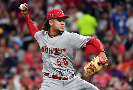 Jul 9, 2019; Cleveland, OH, USA; National League pitcher Luis Castillo (58) of the Cincinnati Reds throws against the American League during the fourth inning in the 2019 MLB All Star Game at Progressive Field. Mandatory Credit: Ken Blaze-USA TODAY Sports