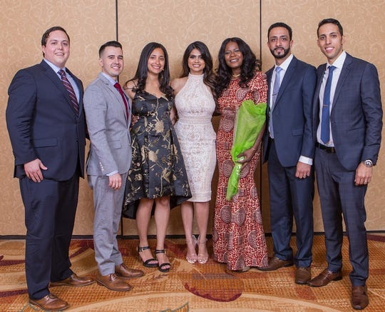 (Left to right) Andrew Marino, MD; Daniel Gonzalez, MD; Olivia Sorial, MD; Nitasha Sharma, MD; Jimmette Brooks, MD; Omar Aiyash, MD; and Isaac Sinai, MD.