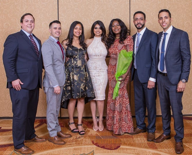 (Left to right)Andrew Marino, MD;Daniel Gonzalez, MD;Olivia Sorial, MD;Nitasha Sharma, MD;Jimmette Brooks, MD;Omar Aiyash, MD;and Isaac Sinai, MD.