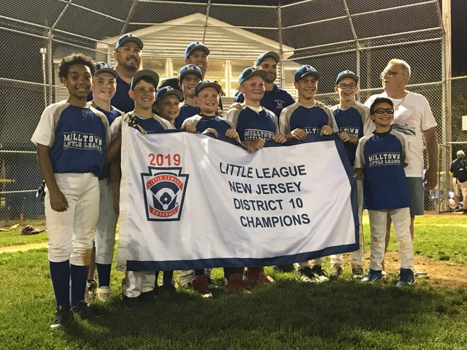 The Milltown Little League baseball team won its first District 10 title since 2006 with a 3-2 win over Sayreville on Tuesday, July 9, 2019.