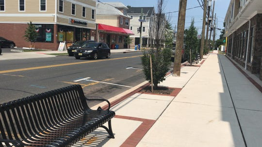 Recent sidewalk beautification in Franklin Township's Hamilton Street Special Improvement District include new sidewalks, benches and trees.