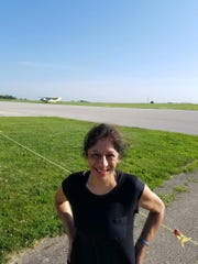 Rekha Basu awaiting the flight from which she will make her plunge June 30 in Winterset.