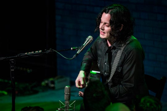 Jack White and Brendan Benson (not in the photo) perform at the Third Man Records in Detroit, Tuesday, July 9, 2019. Tuesday's intimate acoustic show came as White and Benson's band, the Raconteurs, prepares to kick off its North American tour with concerts Friday and Saturday at Detroit's Masonic Temple. The Raconteurs have the country's No. 1 album with the new Help Us Stranger.
